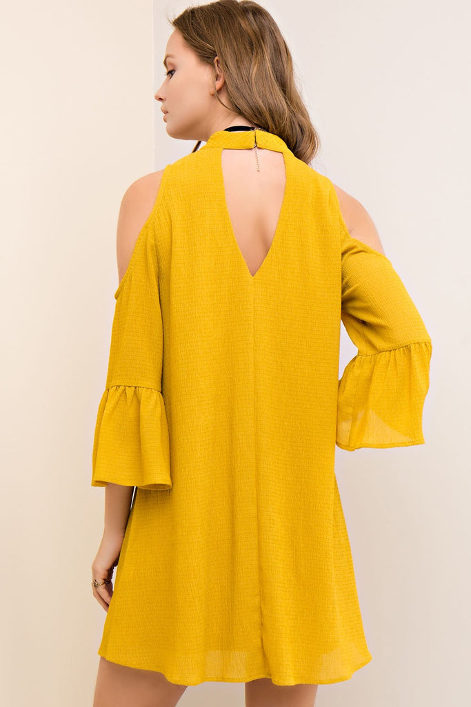 Gold Cold Shoulder Strappy Game Day Dress