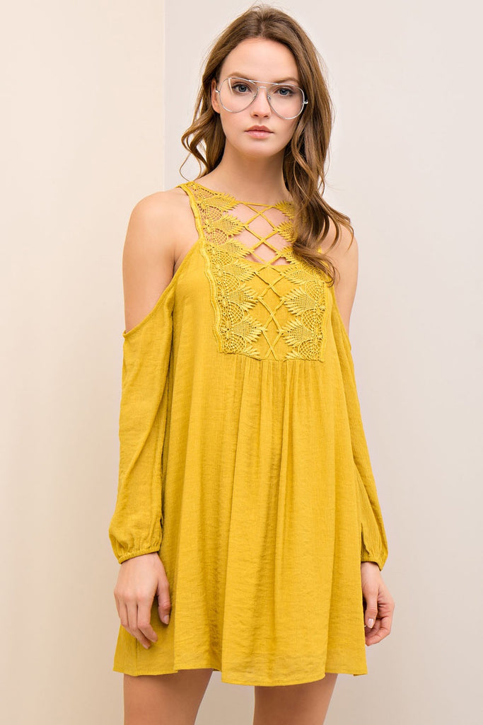 Gold Crochet Cold Shoulder Dress