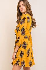 Gold Floral Ruffle Dress