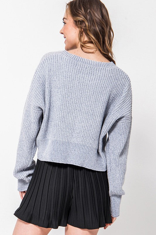 The Lurex Crop Sweater (Grey)