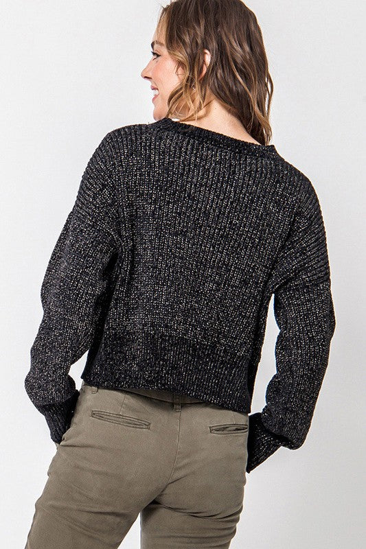 The Lurex Crop Sweater (Black)