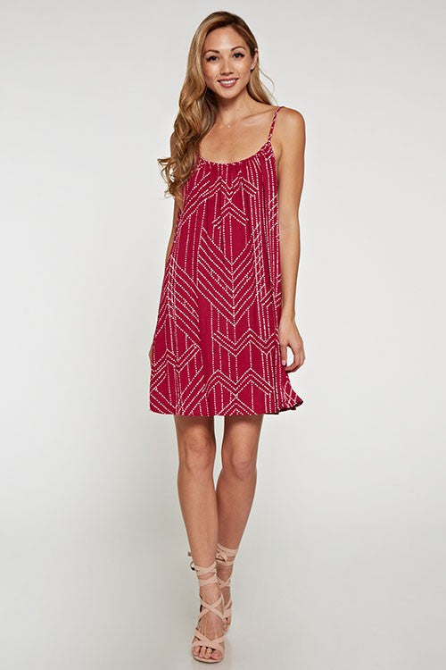 Dotted Rasberry Printed Cami Dress
