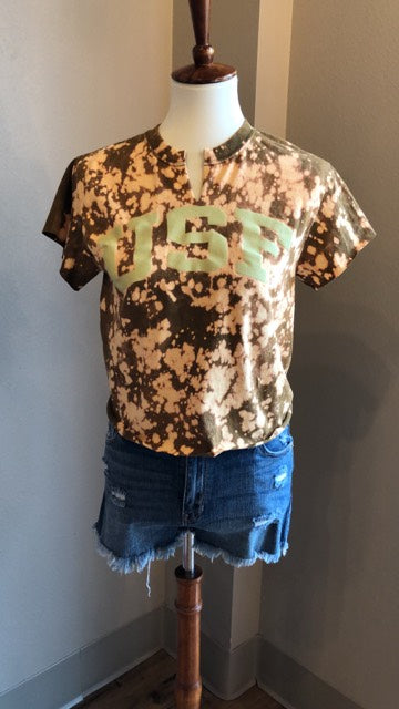 USF Bleached Cropped Tee