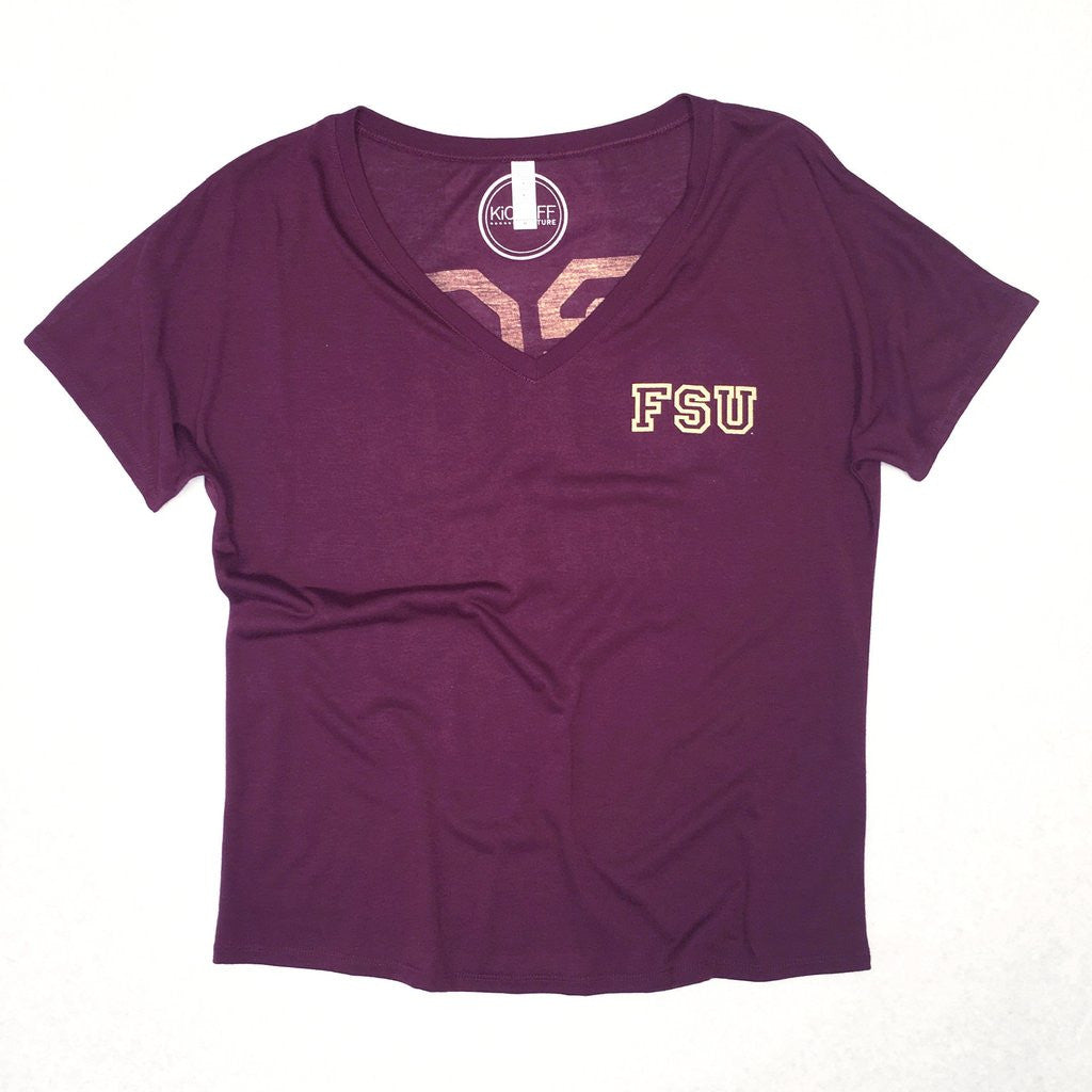 Go 'Noles Slouchy V-Neck Tee Kickoff Couture - Bows and Arrows FSU Women's Game Day Dresses and Apparel