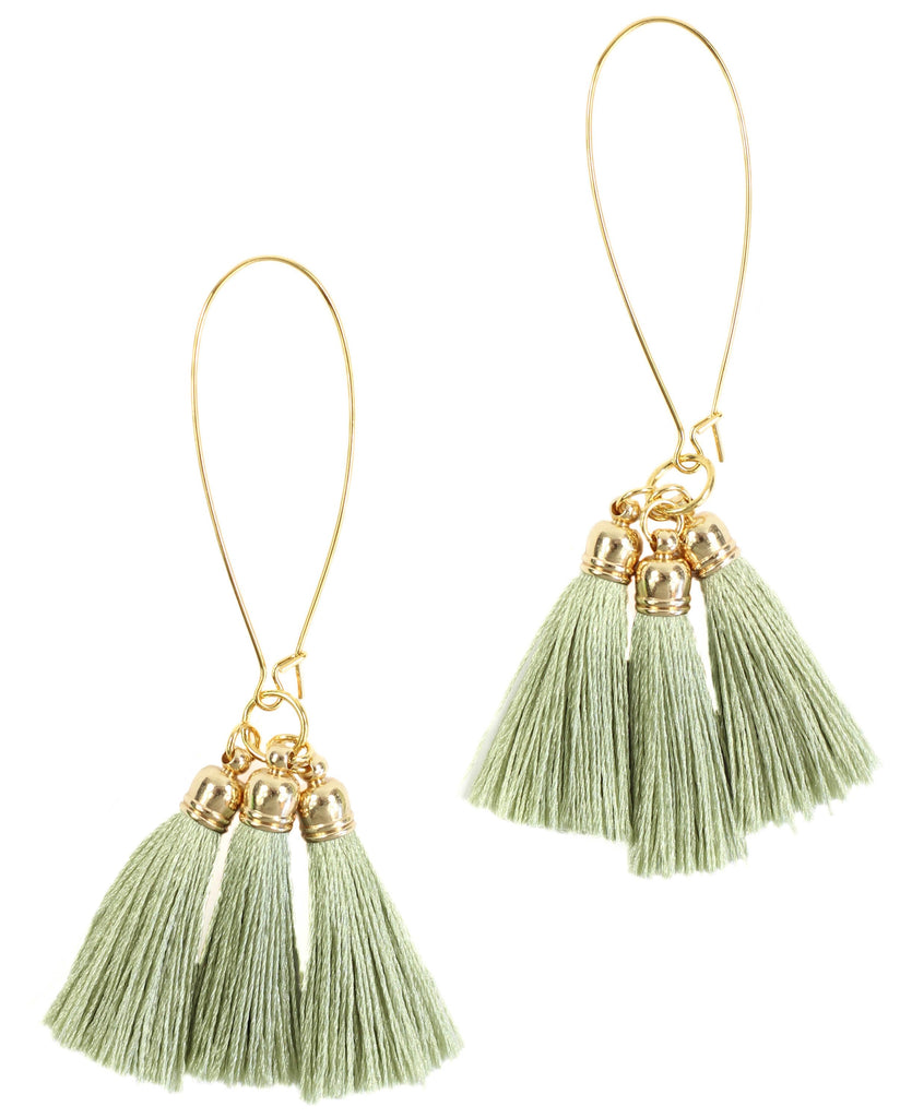 Bourbon and Boweties - Green Tassel Earring