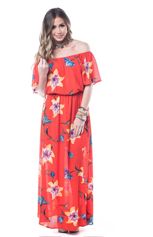 Mauve Floral Off Shoulder Maxi