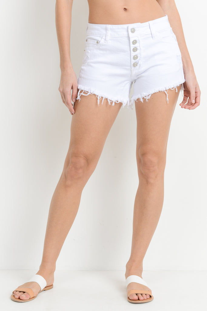 White Button Down Denim Short