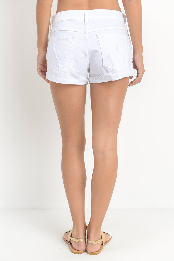 White Double Rolled Hem Short