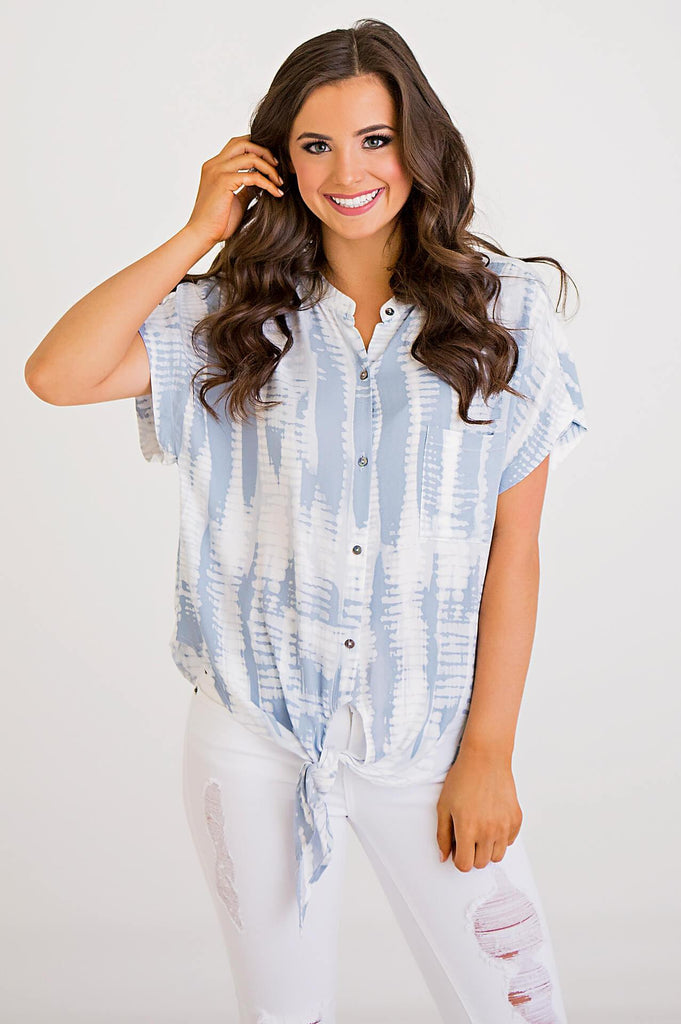 Tie Dye Knot Front Blouse