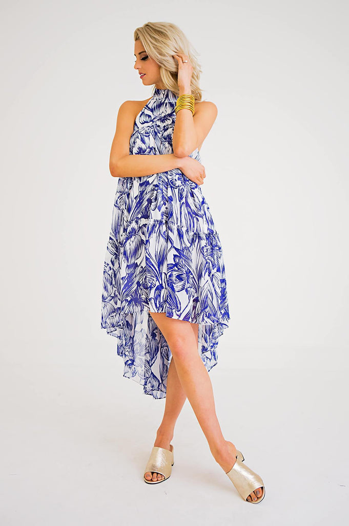 Tropical Leaf Halter Dress