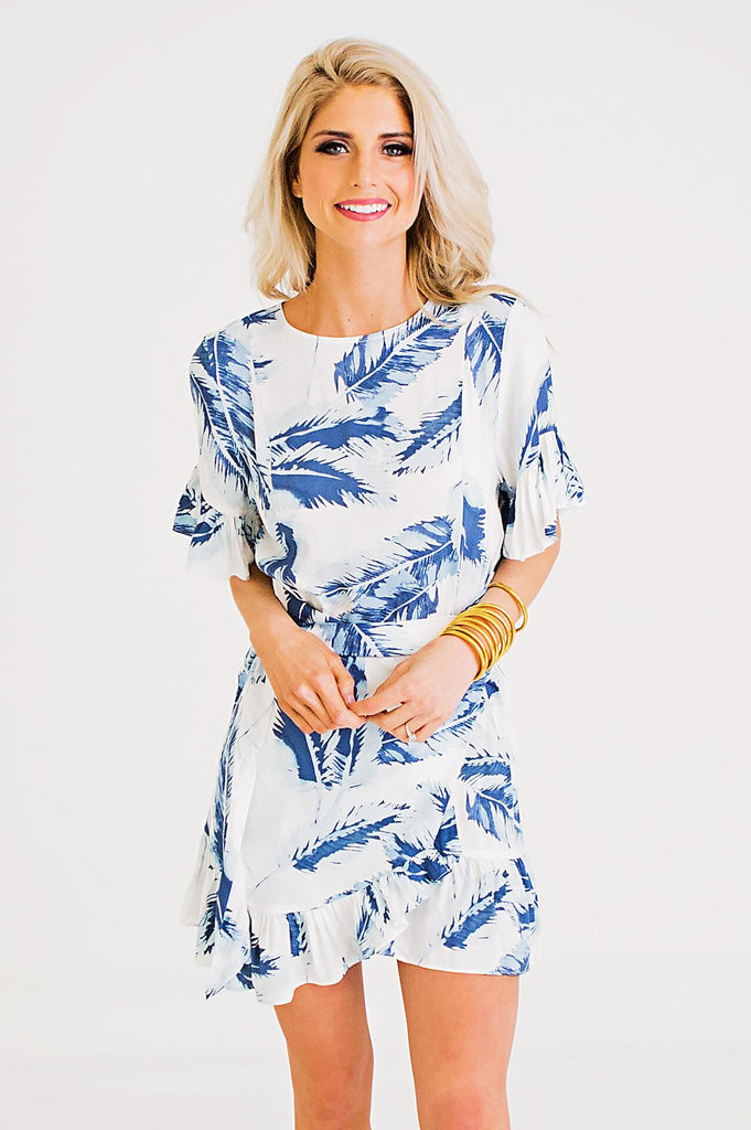 Tropical Leaf Ruffle Wrap Dress
