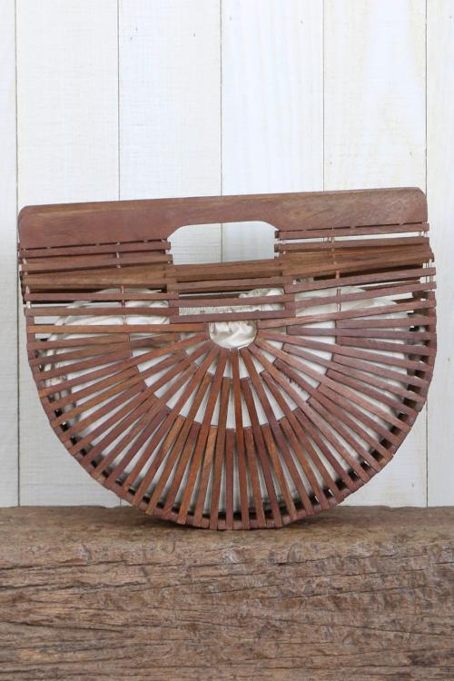 Handmade Wooden Semi Circle Bag