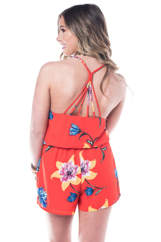 Jacey Hibiscus Romper Romper Smell the Roses - Bows and Arrows FSU Seminoles and UF Gators Women's Game Day Dresses and Apparel