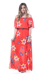 Jaime Hibiscus Maxi Dress Maxi Dress Smell the Roses - Bows and Arrows FSU Seminoles and UF Gators Women's Game Day Dresses and Apparel