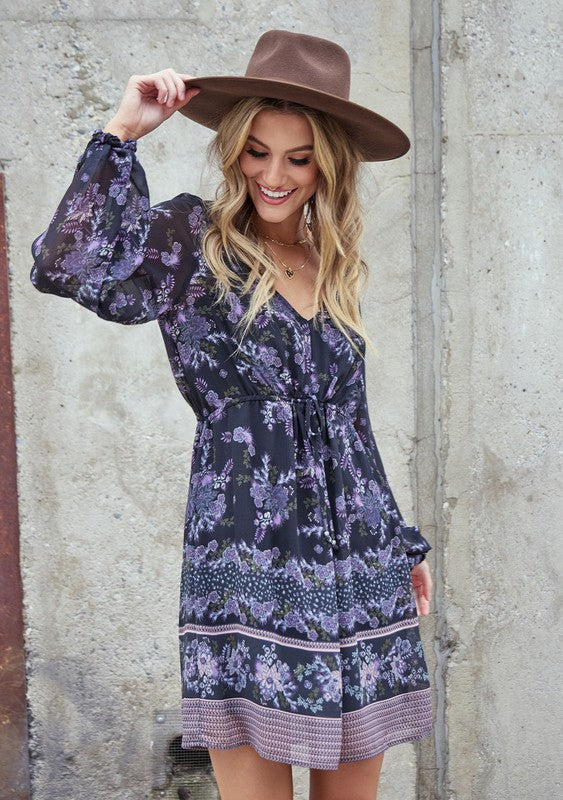 The Holiday Blooms Boho Mini Dress