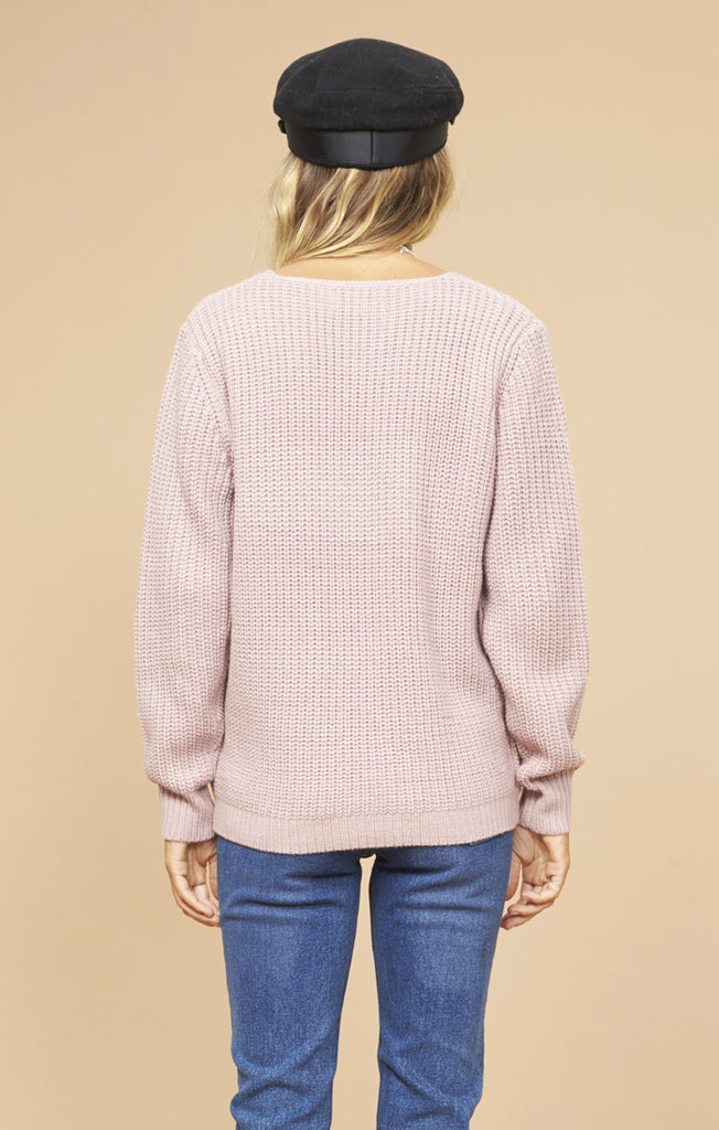 Carmen Wrap Front Sweater - Pink