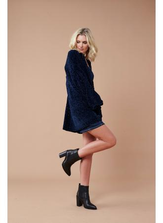 Honey Chenille Cardi - Navy