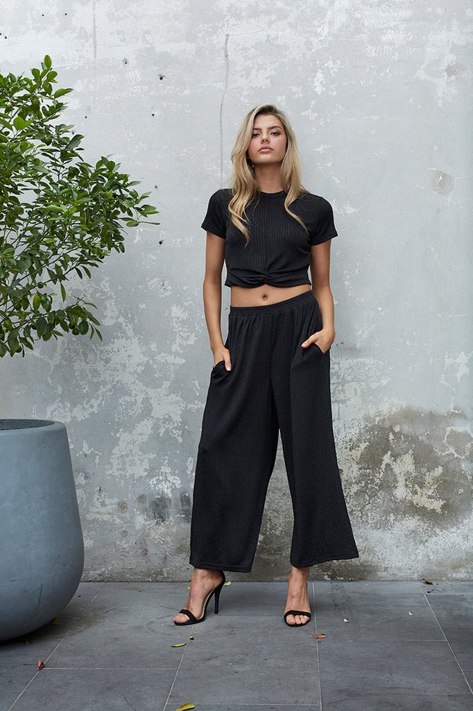 Metallic Stripe Culotte - Black