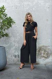 Metallic Stripe Culotte - Black (1499240005680)
