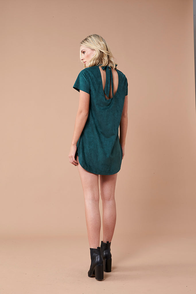 Remember Me Suede Tee Dress - Emerald