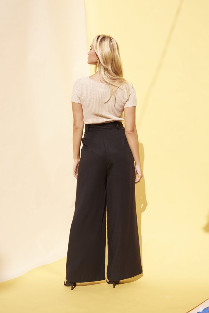 Tencel Black Wide Leg Pant