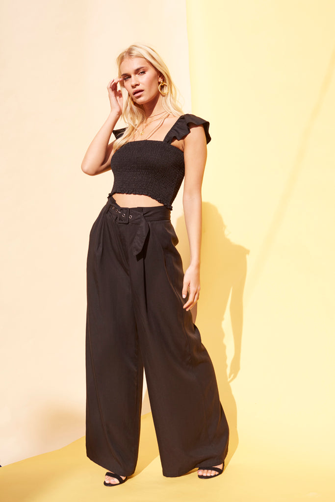 Tencel Smocked Black Crop Top