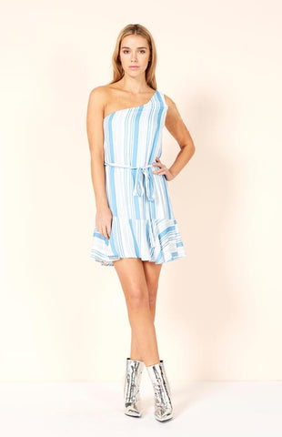 Washed Blue One Shoulder Stripe Dress