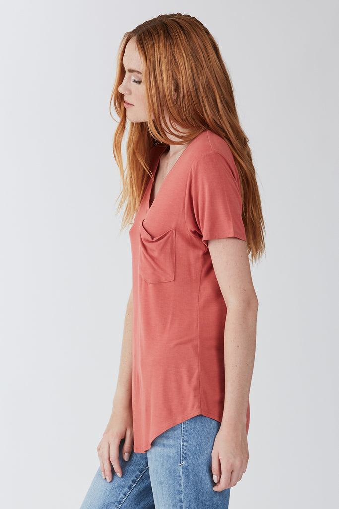 Mauve Phoenix Pocket V-Neck Tee