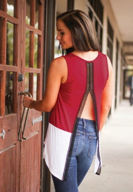 FSU Colorblock Open Back Tank Tank Game Day Couture - Bows and Arrows Co LLC