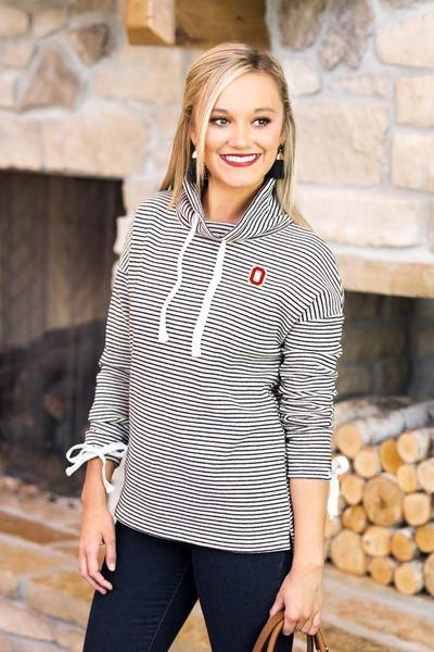 Ohio State Buckeyes Sunday Funday Funnel Neck Knit Top