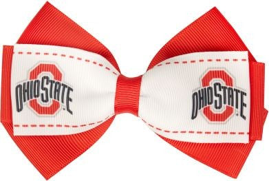 Ohio State Buckeyes Two-Toned Bow Hair Clip