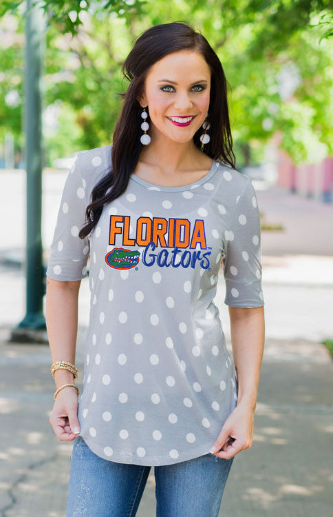 Florida Gators Polka Dot Tunic Tee Tunic Game Day Couture - Bows and Arrows FSU Seminoles and UF Gators Women's Game Day Dresses and Apparel