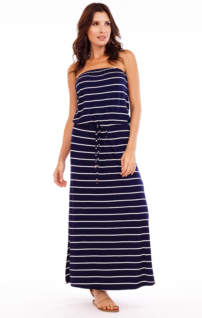 Rico Stripe Tube Maxi Dress