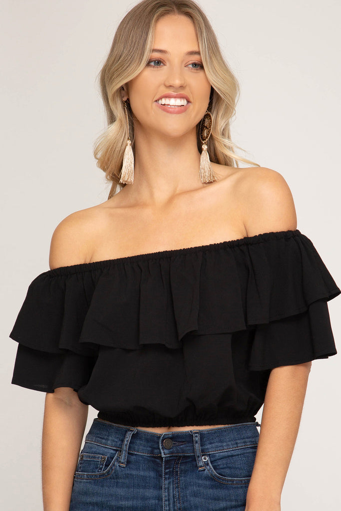 The Game Day Off the Shoulder Crop Top - Black