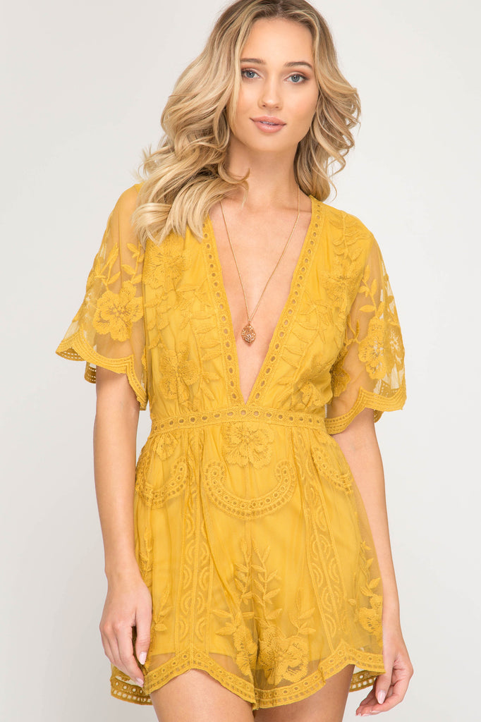 Gold Crochet Lace Game Day Romper