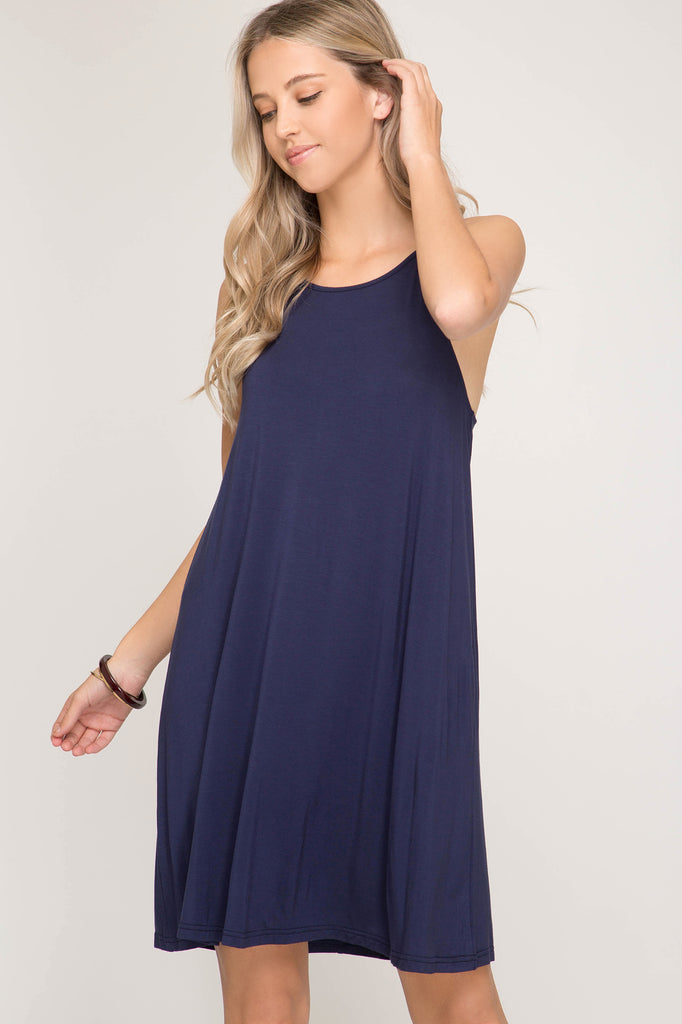 Halter Neck Knit Dress - Navy