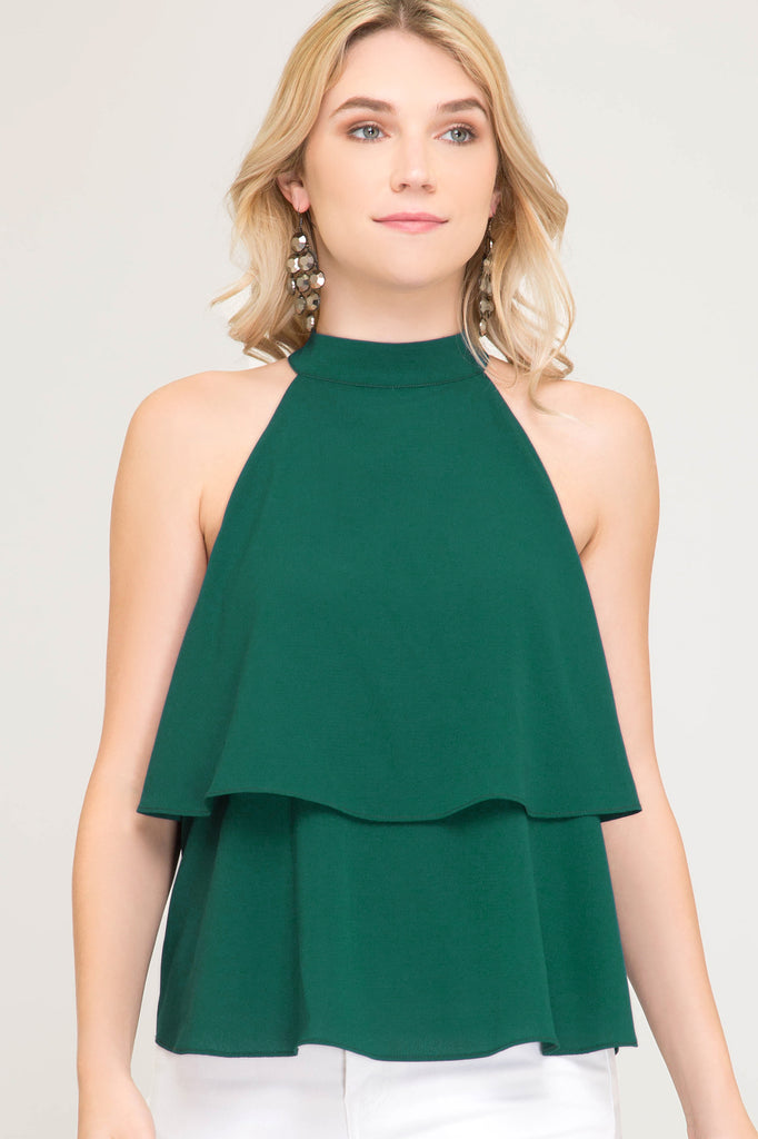Hunter Green Layered Game Day Halter Top