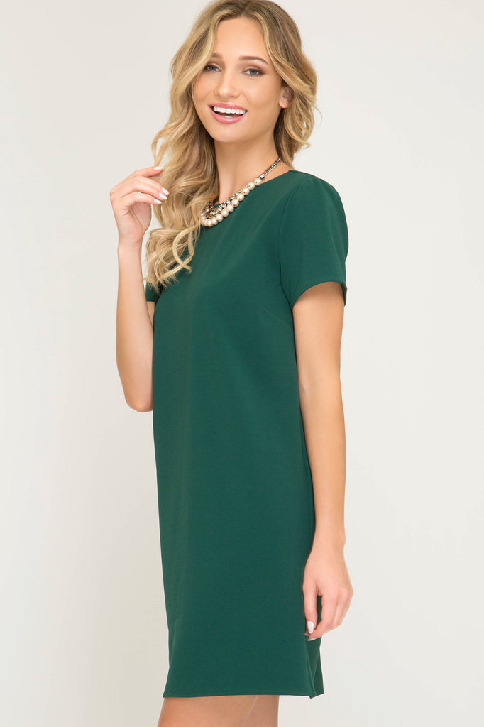 Hunter Green Short Sleeve Shift Dress