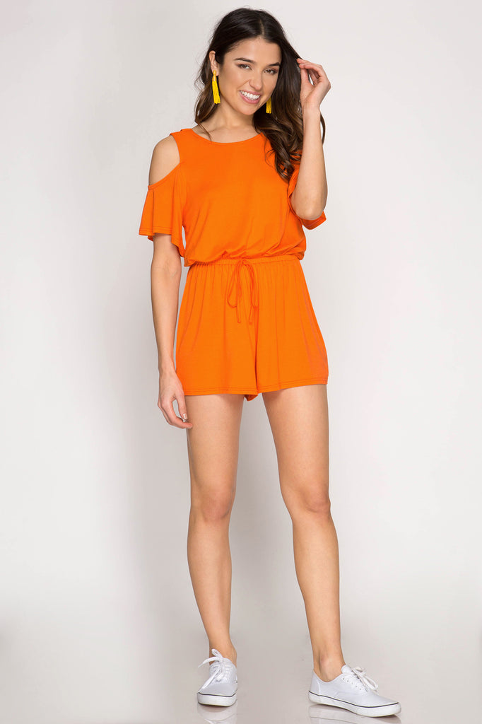 Orange Cold Shoulder Romper