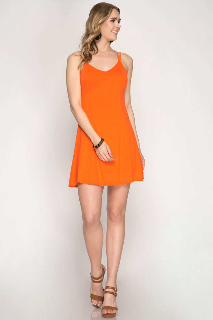 Orange Fit & Flare Game Day Dress