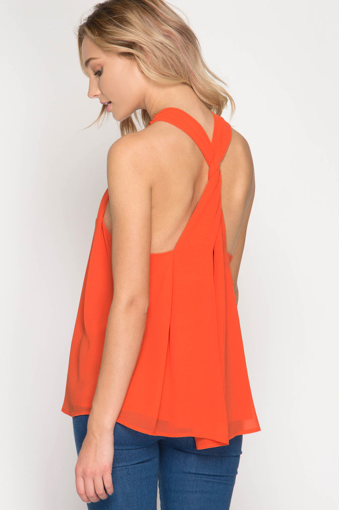 Orange High Neck Game Day Halter