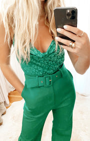 The Diane Bodysuit Green Cheetah Silky