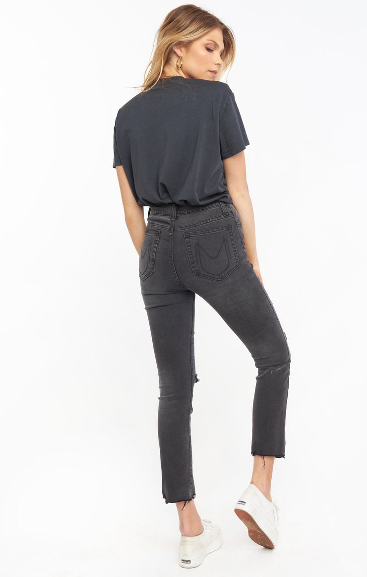 The Soho Button Up Skinnies Distressed Black