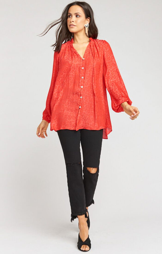 Alicia Tunic Red Silky Cheetah
