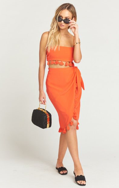 Anjolie Wrap Skirt with Tassels Bellini