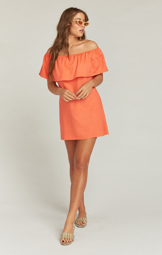 Can Can Dress Coral Linen