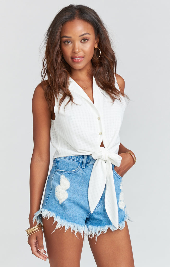 Houston Tide with Star Stamp High Waisted Denim Shorts