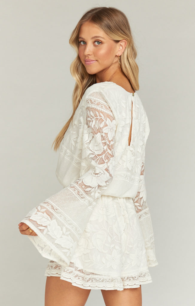 Loretta Romper Moonlight Roses Lace Cream