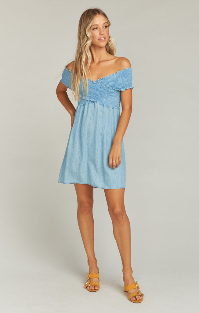 Mandy Smocked Dress Light Chambray