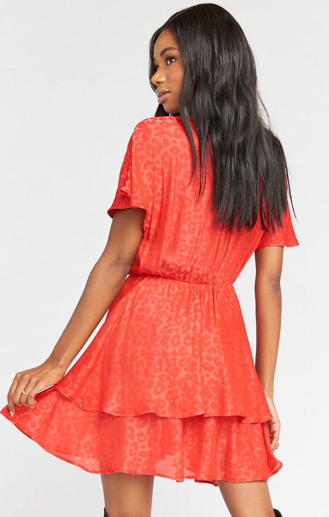 Sandrine Ruffle Dress Red Silky Cheetah